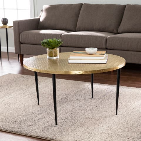 Strick & Bolton Jedwick Round Cocktail Table w/ Embossed Top, Brass/Black