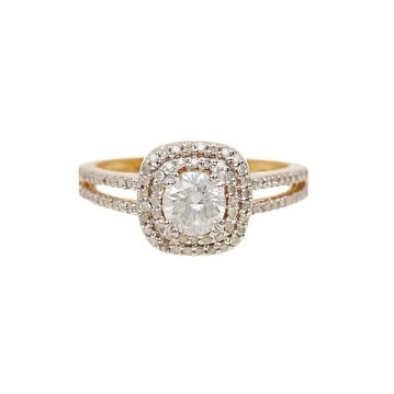 14K Gold Pointer Pave White Diamond Ring