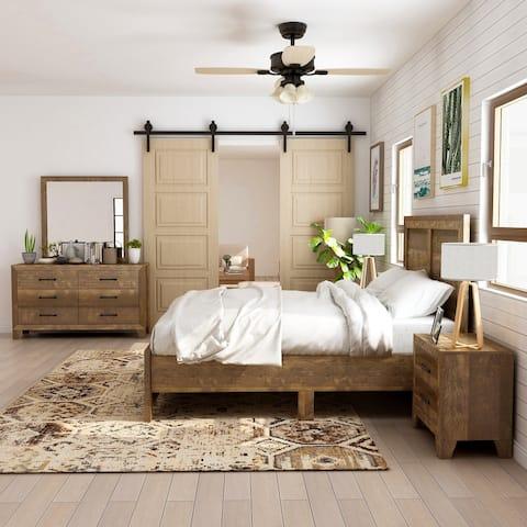Furniture of America Loa Transitional Rustic Walnut 5-piece Bedroom Set