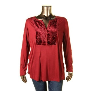 Lucky Brand Womens Plus Blouse Henley Velvet Red 1X