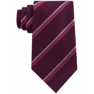 Kenneth Cole Reaction NEW Red Mens One Size Striped Neck Tie Silk