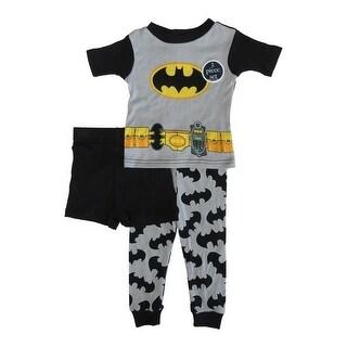 DC Comics Little Toddler Boys Grey Batman Cotton Short Sleeve 3 Pc Pajama