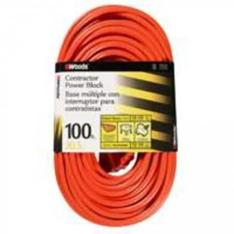 Coleman Cable 0820 3 Outlet Power Block, 12/3 X 100 Ft , Orange Sleeved