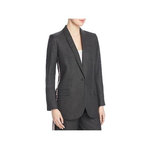 Tory Burch Womens Tuxedo Blazer Printed Inset Office - Night Fall Melange