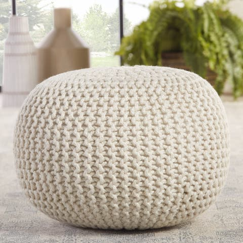 Hinton Indoor/ Outdoor Solid White Cylinder Pouf