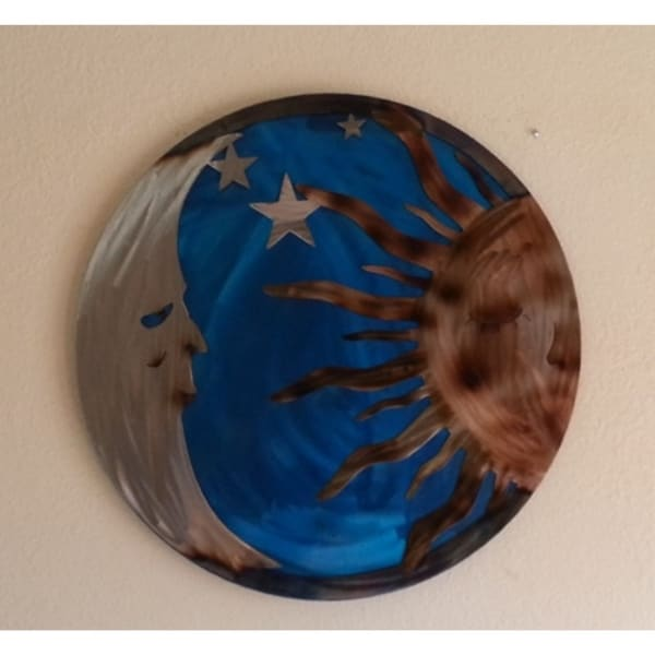 Sun and moon metal wall art - Size - 16\