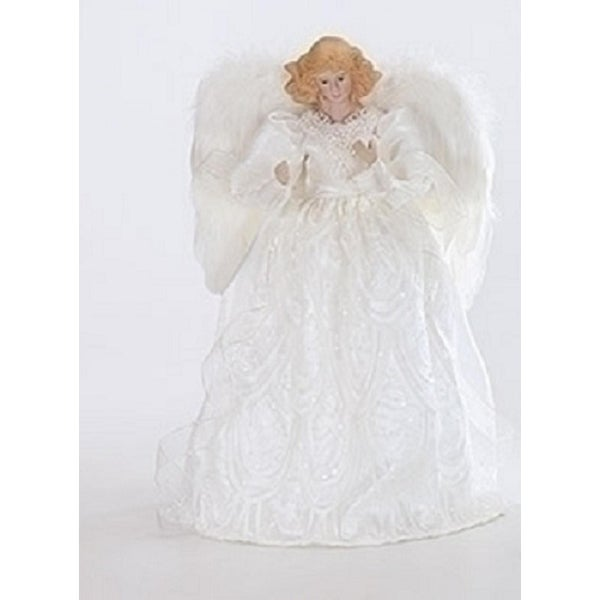 Snow White Porcelain Angel with Sequins Christmas Tree Topper 14""
