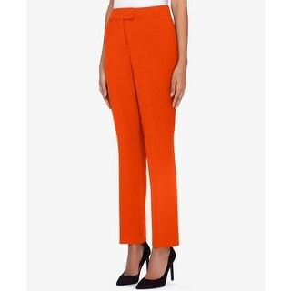 Tahari by ASL Burnt Orange Women Size 8 Flat-Front Crepe Dress Pants