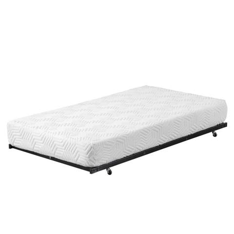 Square Tube Trundle Bed Frame with Wheels Black Twin Size