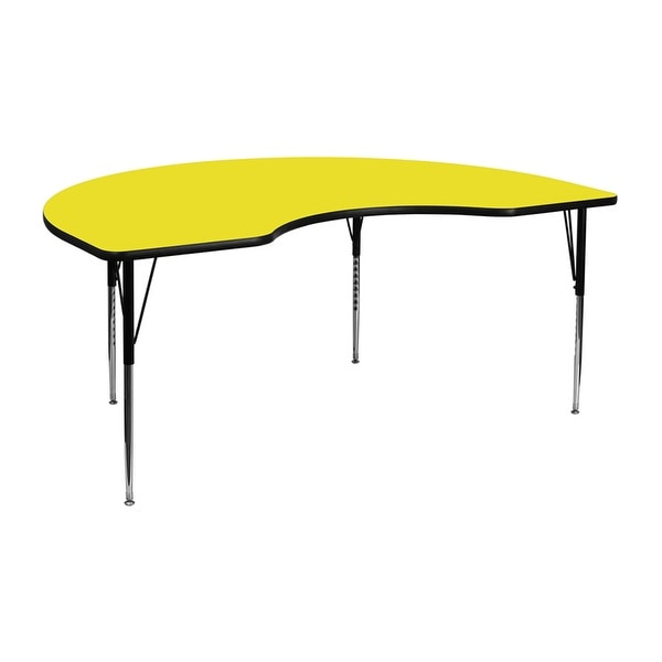 Offex 48''W x 96''L Kidney Shaped Activity Table with 1.25'' Thick High Pressure Yellow Laminate Top