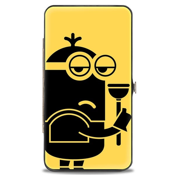 Kevin Banana Pose Black Yellow + Plunger Pose Yellow Black Hinged Wallet - One Size Fits most