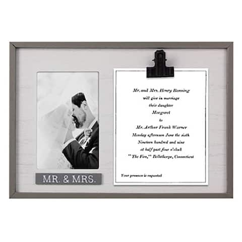 Wood Wedding Announcement Keeper with 4X6 Photo/Picture Frame