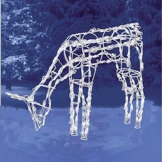"""Brite Star 46-240-23 3D Feeding Deer Sculpture, 32"""" H, White Wire Frame"""