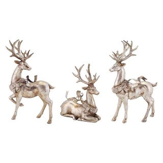 """Set of 3 Distressed Silver Reindeer with Wreath Table Top Christmas Decorations 9""""-13"""""""