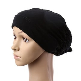 Muslim Scarf Kerchief Hat Flower Casual black