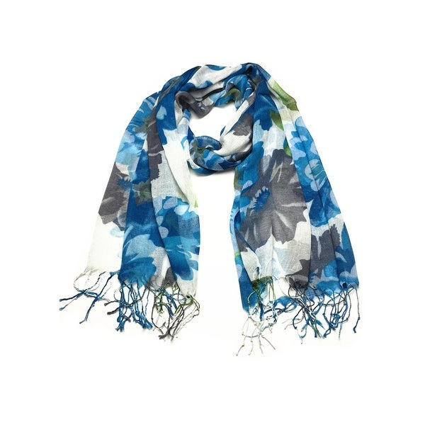 Women's Fashion Floral Soft Wraps Scarves - F2 Blue
