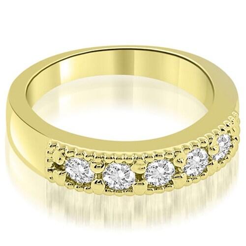0.75 cttw. 14K Yellow Gold Classic Milgrain Round Cut Diamond Wedding Band