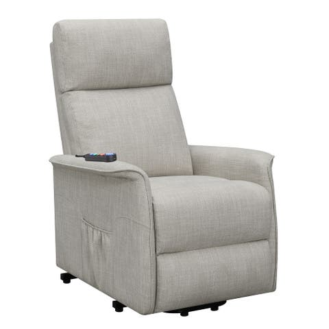 Power Lift Massage Chair with Wired Remote and Side Pockets, Light Gray