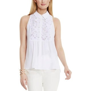Vince Camuto Womens Casual Top Chiffon Lace Trim