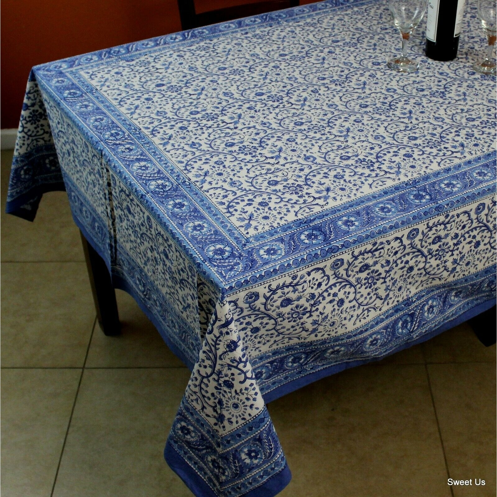 Rajasthan Block Print Floral Round Tablecloth Rectangle Cotton Table Napkins Placemats Runner On Sale Overstock 11995562