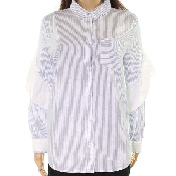 d2030320 Shop Abound Blue Womens Size Medium M Ruffled Striped Button Down ...