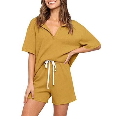 Haute Edition Women's Split Neck Tee And Shorts Lounge Pajama Set