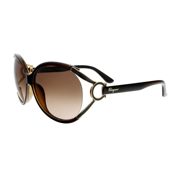 2e16f1c24b1e Shop Salvatore Ferragamo SF600S 220 Pearl Dark Round Sunglasses - 61 ...