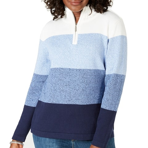 Karen Scott Womens Sweater Blue Size Small S 1/4 Zip Colorblock Ribbed