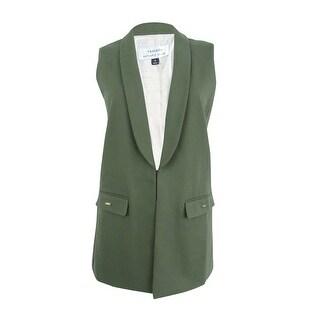 Tahari ASL Women's Shawl-Collar Vest - OLIVE GREEN