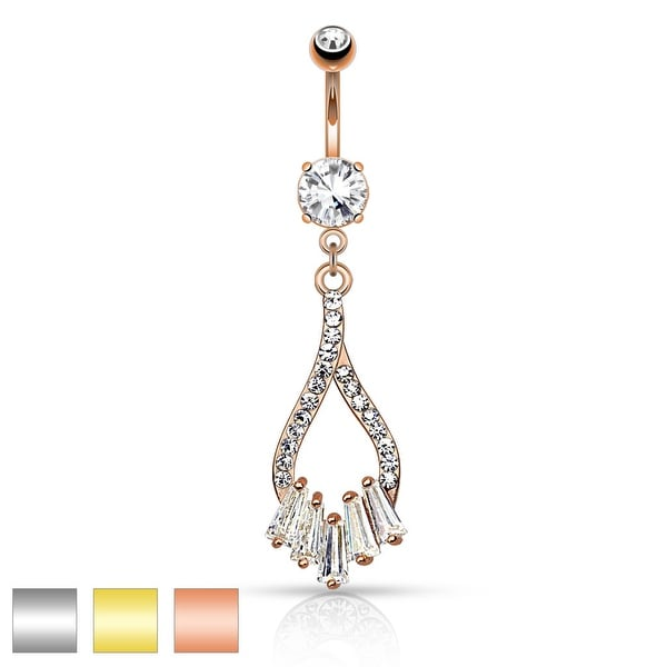 Twist Droplet with Five Princess Cut CZs Dangle Navel Ring