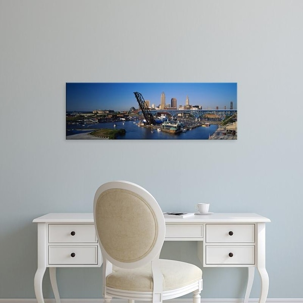 Easy Art Prints Panoramic Images's 'High angle view of boats in a river, Cleveland, Ohio, USA' Premium Canvas Art