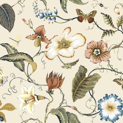 NextWall Summer Garden Floral Peel and Stick Wallpaper