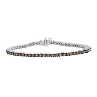 Prism Jewel 3.33Ct Natural Brown/I1-I2 Diamond Box Clasp 7.5 Inches Teniis Bacelet Crafted in 14k White Gold