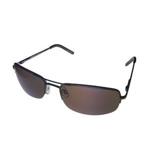 Levi Mens Sunglass LS180 3 Gunmetal Metal Rimless, Brown Lens - Medium