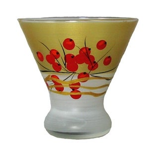 Set of 2 Berries & Branches Hand Painted Cosmopolitan Wine Glasses - 8.25 Ounces