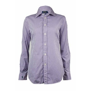 Polo Ralph Lauren Women's Harper Custom Fit Striped Dress Shirt - Purple - 4