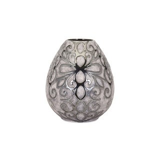 IMAX Home 95201  Rowena Medium Ceramic Vase - Silver