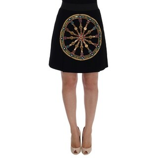 Dolce & Gabbana Dolce & Gabbana Black Wool Carretto Crystal A-Line Skirt - it42-m