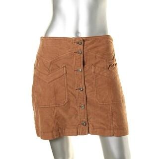 Free People Womens Corduroy Button-up Mini Skirt