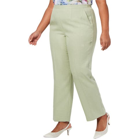 Alfred Dunner Womens Southampton Casual Trouser Pants, green, 20W