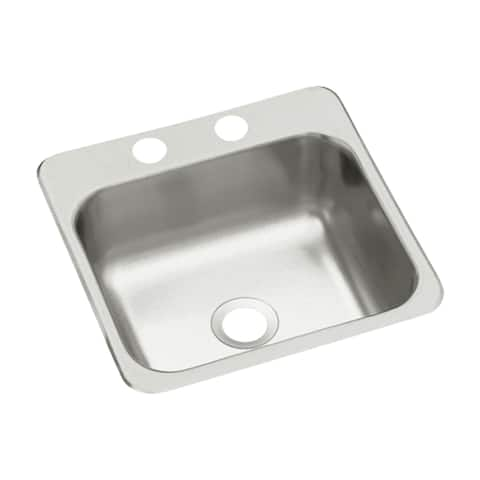 "Sterling B153-2 15"" Single Basin Drop In Stainless Steel Bar Sink with SilentShield -"