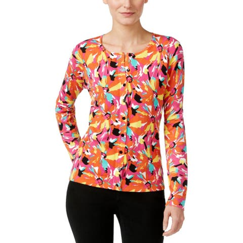 August Silk Womens Cardigan Sweater Printed Button Front