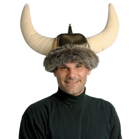 Beige and Brown Adult Men Space Viking Hat Costume Accessory - One Size - One Size