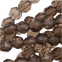 Smokey Quartz Faceted Round Gemstone Beads 4mm - 15.5 Inch Strand