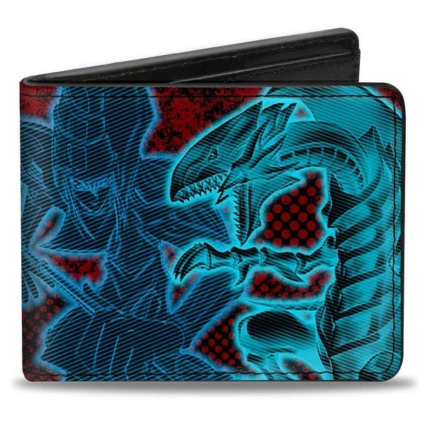 Yu Gi Oh! 4 Character Pose + Yu Gi Oh! Black Red Electric Multi Color Bi Bi-Fold Wallet - One Size Fits most