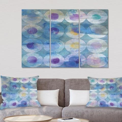 Designart 'Watercolor Geometrical Circles I' Mid Century Modern Canvas Wall Art