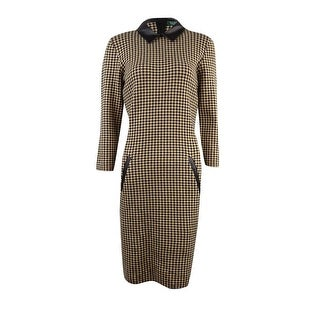 Lauren Ralph Lauren Women's Houndstooth Faux Leather Dress