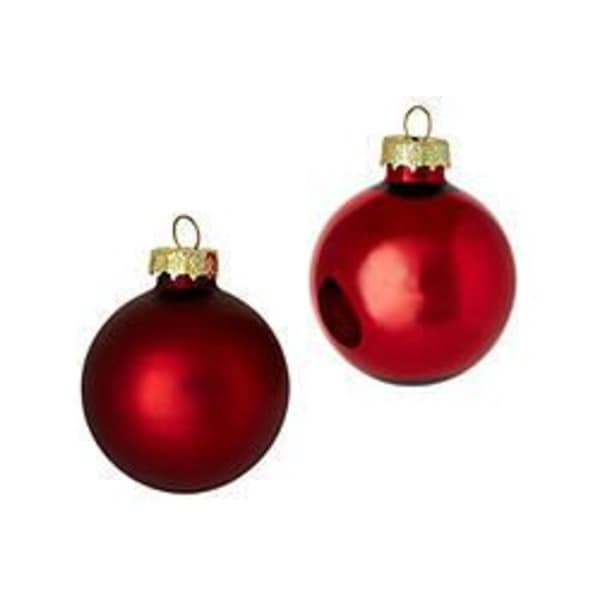 "28ct Red Shiny and Matte Glass Ball Christmas Ornaments 2"" (50mm)"