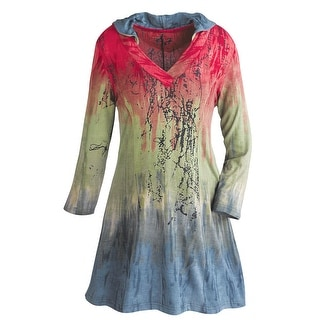 Women's Hooded Tunic Top - Red, Green & Gray Ombre Print Shirt