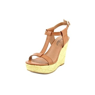 Lucky Brand Lovell Open Toe Leather Wedge Heel